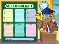 Weekly school timetable topic 9 - picture illustration.