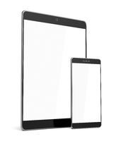 Smartphone and tablet on white background