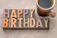 Happy Birthday greetings card in wood type