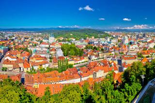 Colorful Ljubljana aerial panoramic view
