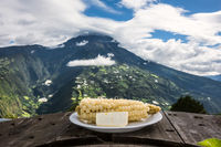 White corn with young cheese - typical food in the Andes