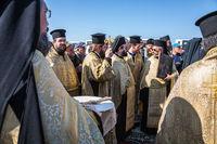 The festive liturgy Orthodox priests involved