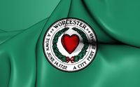 3D Flag of the Worcester, USA.
