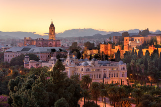 Aerial View of Malaga in the Evening, Malaga, Andalusia, Spain