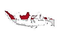 Karte und Fahne von Indonesien auf altem Leinen - Map and flag of Indonesia on old linen