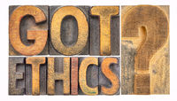 Got ethics? Word abstract in wood type