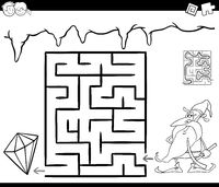 maze with dwarf and gem for coloring
