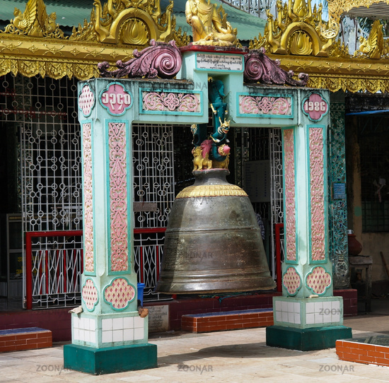 Bell in Shwemawdaw pagoda in Bago Myanmar,