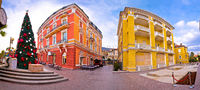 Town of Opatija colorful architecture panoramic advent view