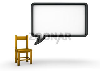 stuhl und sprechblase auf weißem hintergrund - 3d rendering