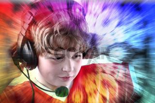 Children listening to music