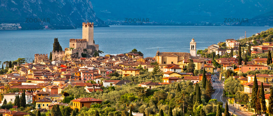 Town of Malcesine on Lago di Garda historic skyline panoramic view