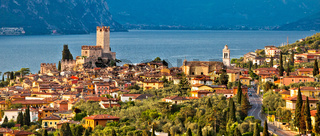 Town of Malcesine on Lago di Garda historic skyline panoramic view