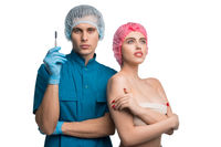 Handsome plastic surgeon with his patient view