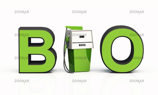 3D BIO-Text mit Zapfsäule - Bio Diesel