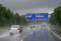 Aquaplaning danger - rain on the highway