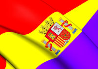 3D Flag of the Second Spanish Republic. Close Up.