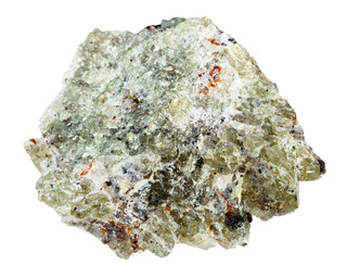 rough olivine stone isolated on white