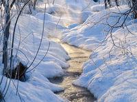 Small winter stream under snow and ice in winter season
