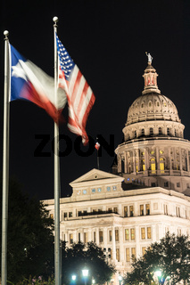 Flags Fly Night Falls Austin Texas Capital Building Motion