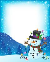 Snowman with Christmas lights frame 1