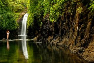Wainibau Waterfall at the end of Lavena Coastal Walk on Taveuni Island, Fiji
