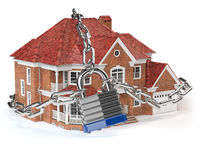 House with chain and lock. Home security concept.