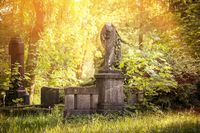 old sculpture without head in beautiful nature