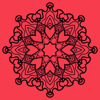 Ornate Print on Red Background. Mandala Flower for Colouring Work Relaxation Adult Zentangle Background