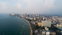 Skyline of Pattaya from aerial view, Pattaya city, Chonburi