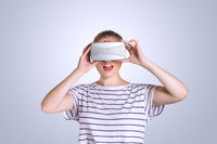 Young woman with wirtual reality glasses