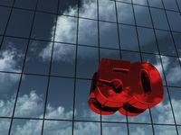 die zahl fünfzig an glasfassade - 3d rendering