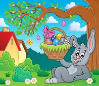 Bunny holding Easter basket theme 6