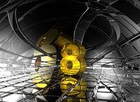 nummer acht in futuristischer umgebung - 3d illustration