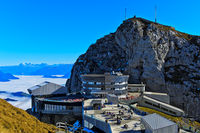 Hotel Pilatus Bellevue beneath peak Esel, Pilatus massif, Switzerland