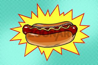 Pop art hot dog fast food