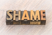shame word abstract in wood type