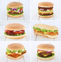 Hamburger Sammlung Collage Cheeseburger Käse Tomaten Salat Holzbrett
