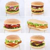 Hamburger Sammlung Collage Cheeseburger Käse Tomaten Salat Holzbrett