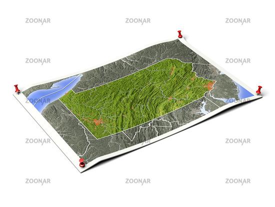 Pennsylvania on unfolded map sheet.
