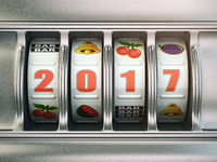 Happy New Year 2017 in casino. Slot machine with number 2017.