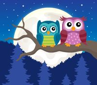 Stylized owls on branch theme image 3