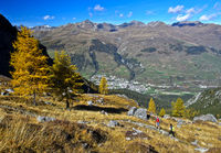 Fall in the Lischana valley, Scuol, Lower Engadin, Graubunden, Grisons, Switzerland
