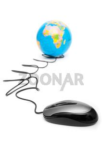 Computer mouse and globe - ruling the world