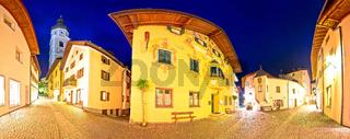 Town of Kastelruth (Castelrotto) street evening view