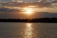 Sunset ove Volga river in Russia