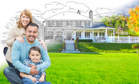 Mixed Race Hispanic and Caucasian Family In Front of Gradation of House Drawing and Photograph