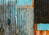Old rusted corrugated gate