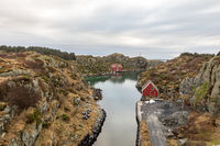 Rovaer in Haugesund, Norway - januray 11, 2018: The Rovaer archipelago in Haugesund, in the norwegian west coast. The small canal between the two islands Rovaer and Urd