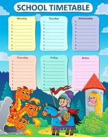 Weekly school timetable thematics 9 - picture illustration.